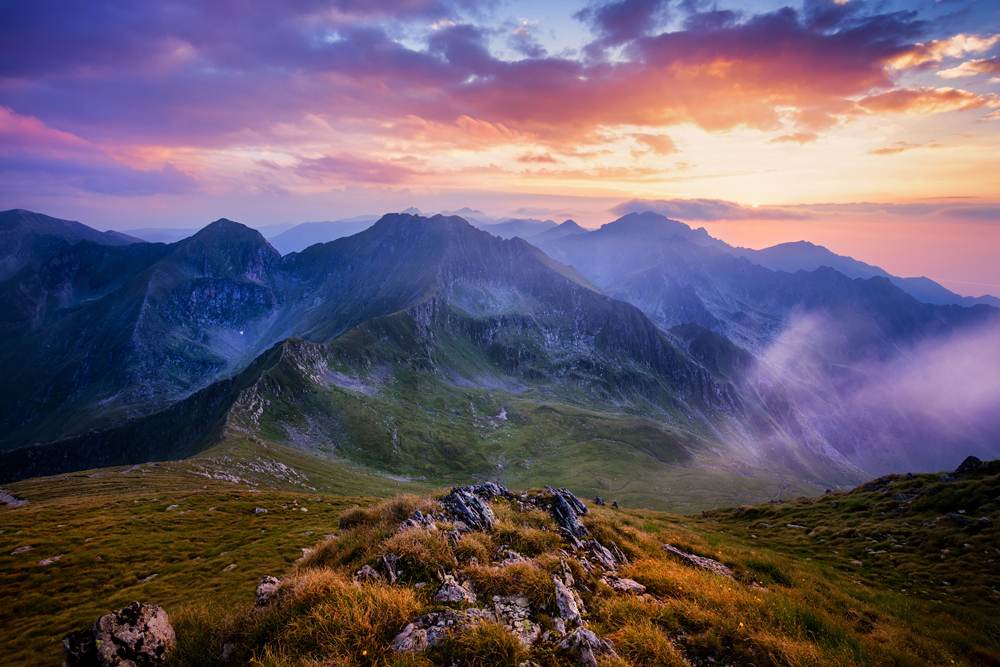 Beautiful sunset sean from a peak in the Carpathian mountains.